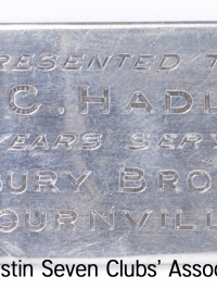 TR0054 : H.C. Hadley - Plaque of gift to H.C. Hadley -31 years of service - Cadbury Bros Ltd Bournville