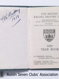 TR0057 : H.L. Hadley - The British Racing Drivers' Club year book - open - 1939