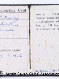 TR0058 : - The Austin Ex-Apprentices Association - membership book - Bert Hadley - Inside spread