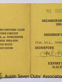 TR0059 : - BRDC-Life members card - Inside - H.L. Hadley - 1991