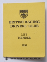 TR0059 : - BRDC-Life members card - Cover- H.L. Hadley - 1991