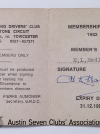 TR0060 : - BRDC-Life members card - Inside - H.L. Hadley - 1983