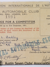 TR0062 : - F.I.A. Competition Licence - H.L. Hadley - 1951