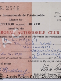 TR0063 : - F.I.A. Competition Licence - H.L. Hadley - 1955